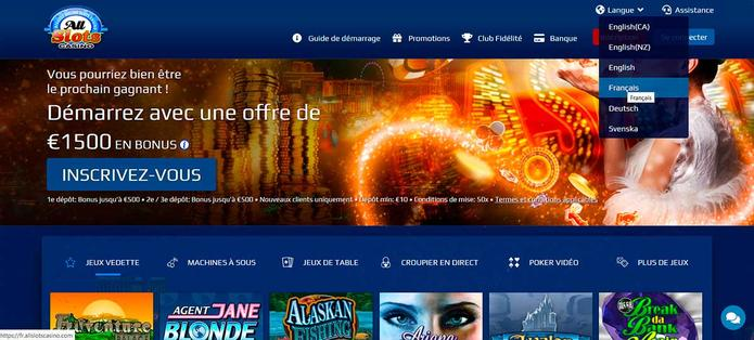 All Slots Casino Canada bonus de bienvenue