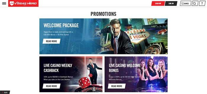 Vegas Hero Casino promotions